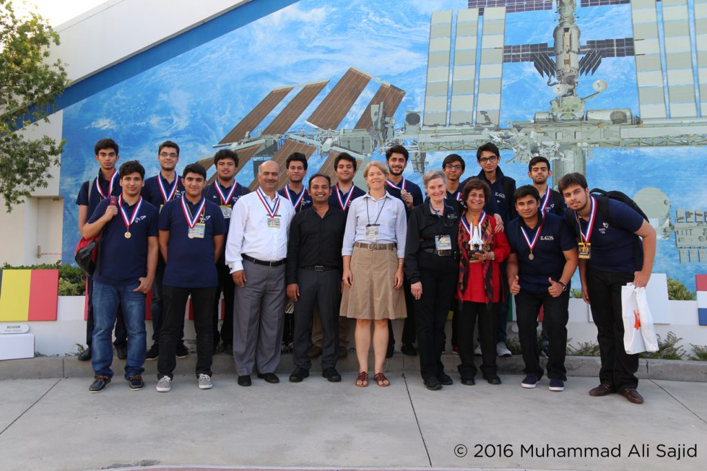 The LGS Johar Town team at the International Space Settlement Design Competition in Florida, U.S.A.